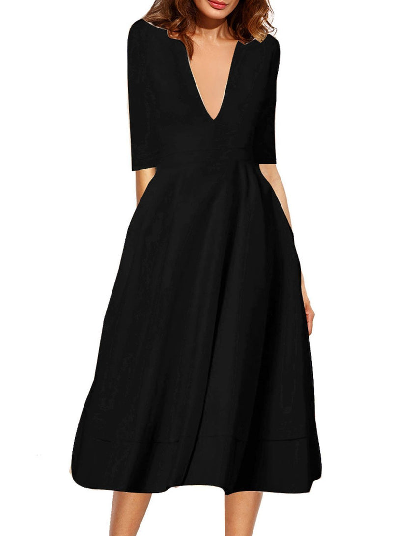 Women's V Neck Half Sleeve Solid A-line Party Dress