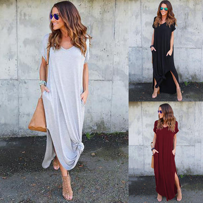 Women's V Neck Short Sleeve Loose Fit Side Slit Maxi Dress