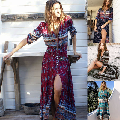 PIN Hot Bohemian Print Half Sleeve Lace-up Dress