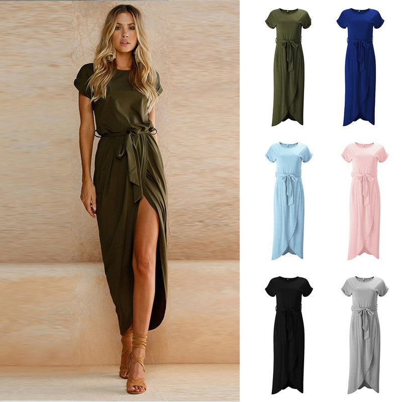 PIN Hot Short Sleeve High Slit Solid Maxi Dress with Belt