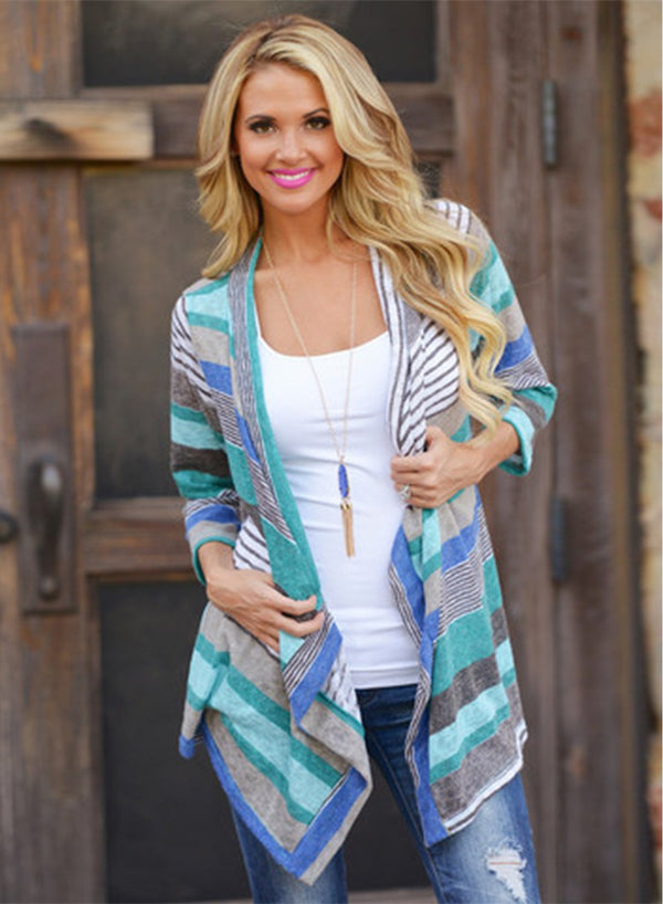 Women's 3/4 Sleeve Open front Striped Irregular Cardigan