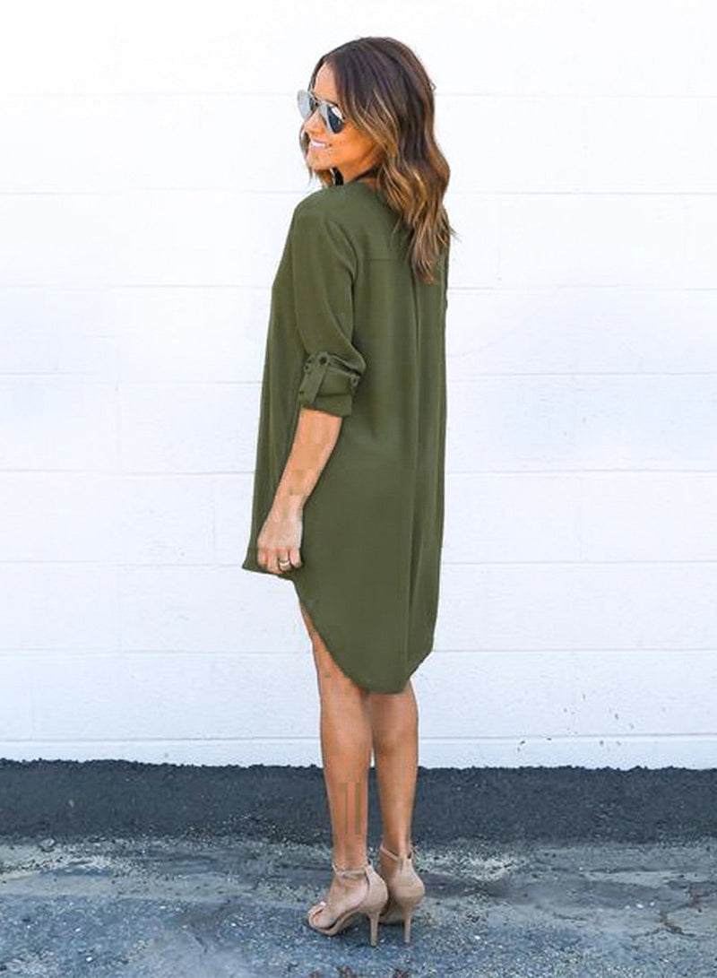 Women's V Neck Long Sleeve High Low Solid Dress