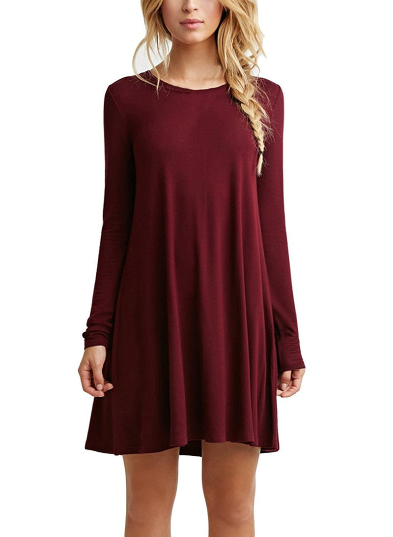 Women's Casual Simple Color Swing T-shirt Loose Dress