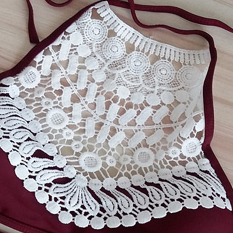 Women's Lace Panel Color Block High Waist Triangle Bikini Set