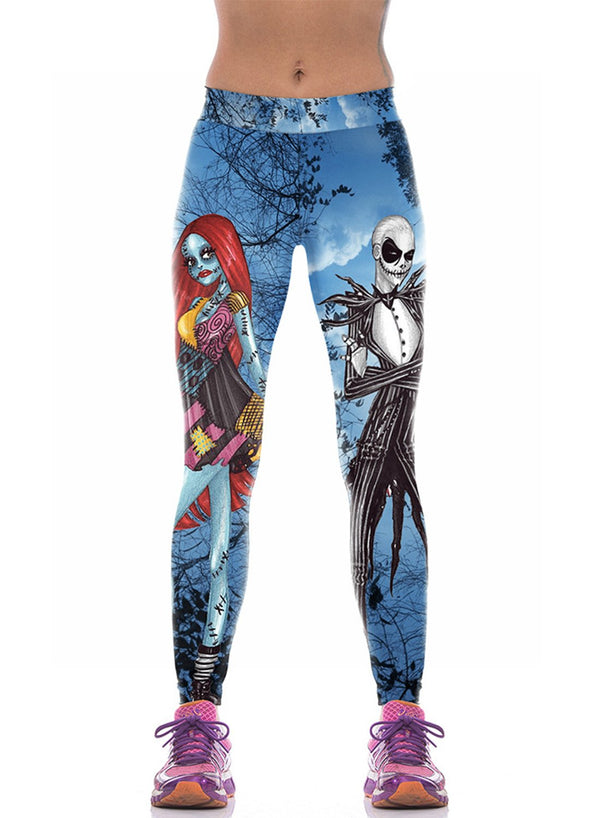 Women's Elastic Waist Skull Printed Leggings