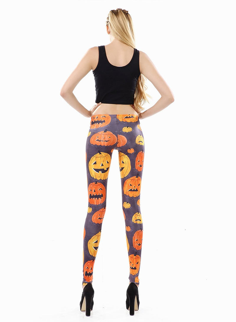 Women's Elastic Waist Halloween Pumpkin Printed Leggings