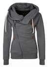 Women's Long Sleeve Side Zipper Drawstring Hood Sweatshirt