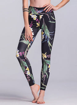 Women's Fashion Floral Printed Skinny Fit Active Leggings