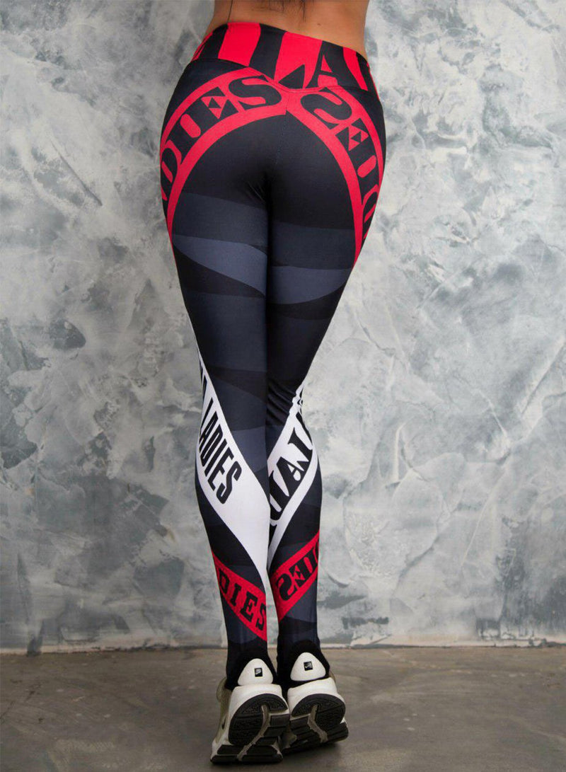 Women's High Waist Letters Printed Leggings