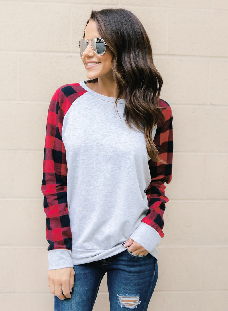 Women's Round NeckLong Sleeve Plaid Splicing Pullover Tee Shirt