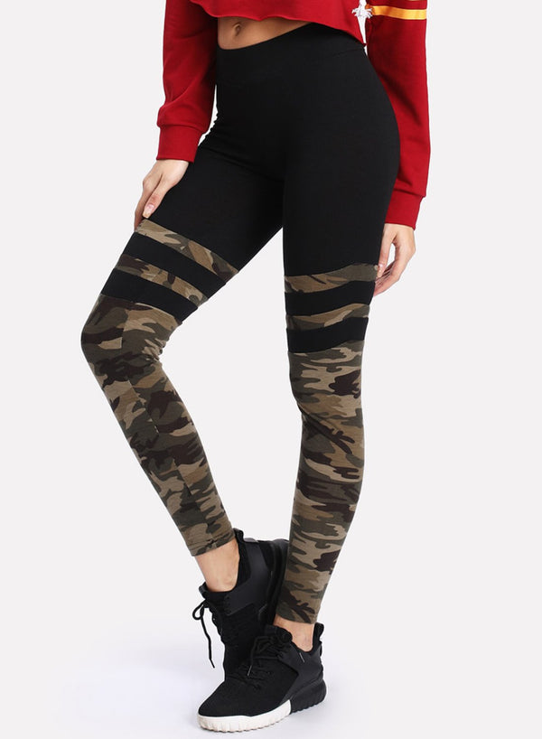 Women's Fashion Casual Skinny Camouflage Pants Yoga Leggings