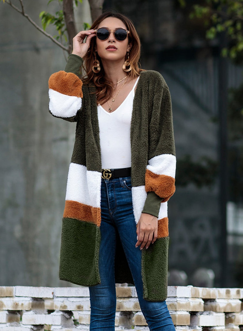 Women Autumn Winter Mid-length Color Block Cardigan Plush Coat