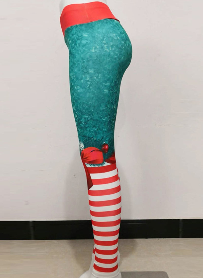 Women Fitness High Waist Slim Yoga Christmas 3D Print Leggings