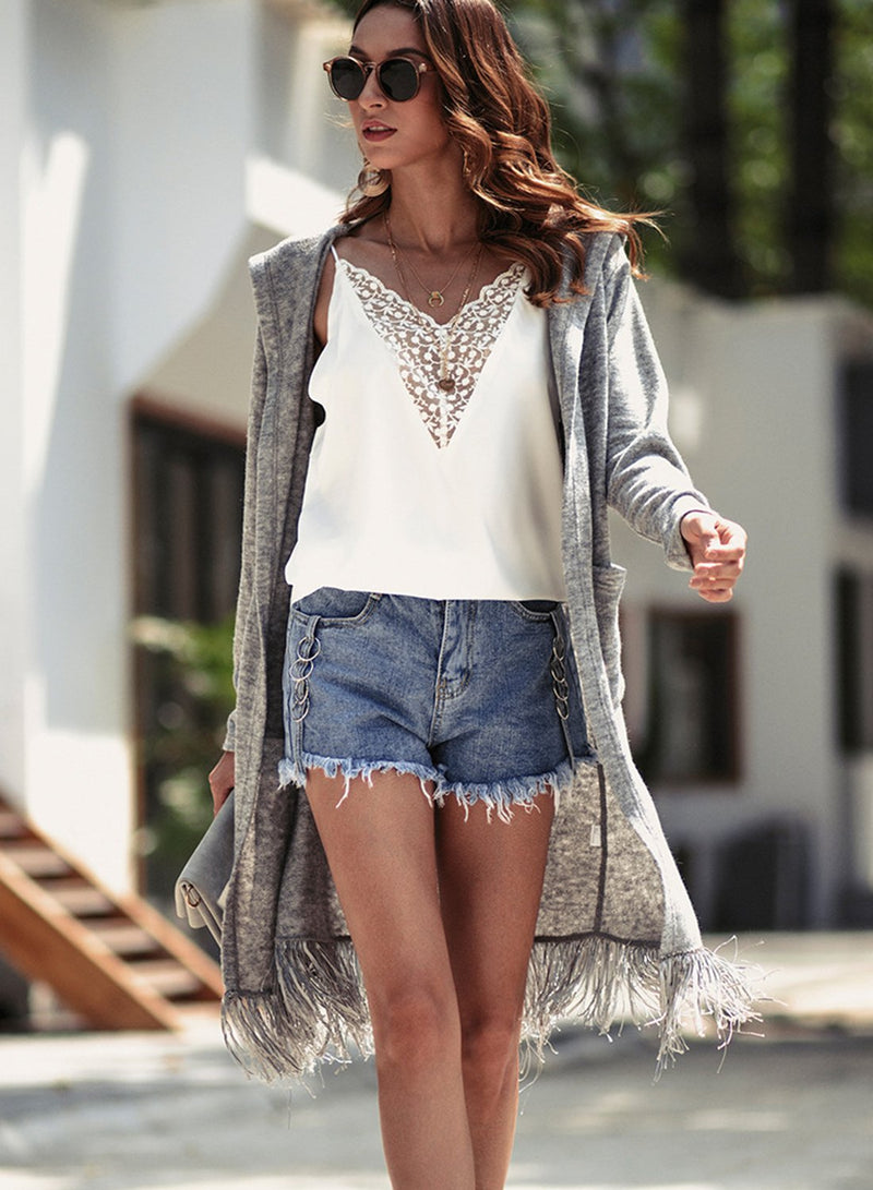 Women Autumn Winter Long Sleeved Hem Tassel Pocket Cardigan