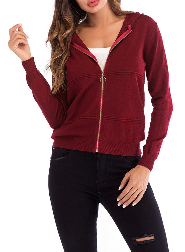 Women Solid Color Hooded Zipper Long Sleeved Top Cardigan