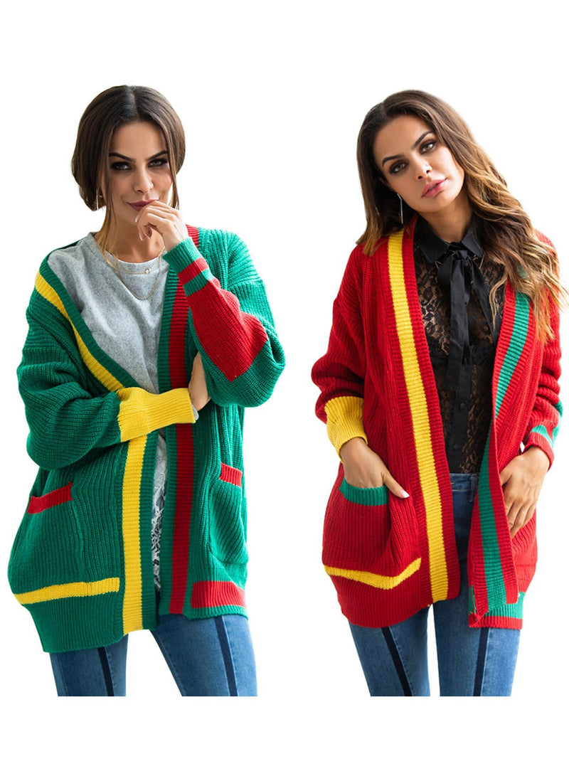 Women Christmas Pocket Contrast Color Wild Matching Loose Cardigan
