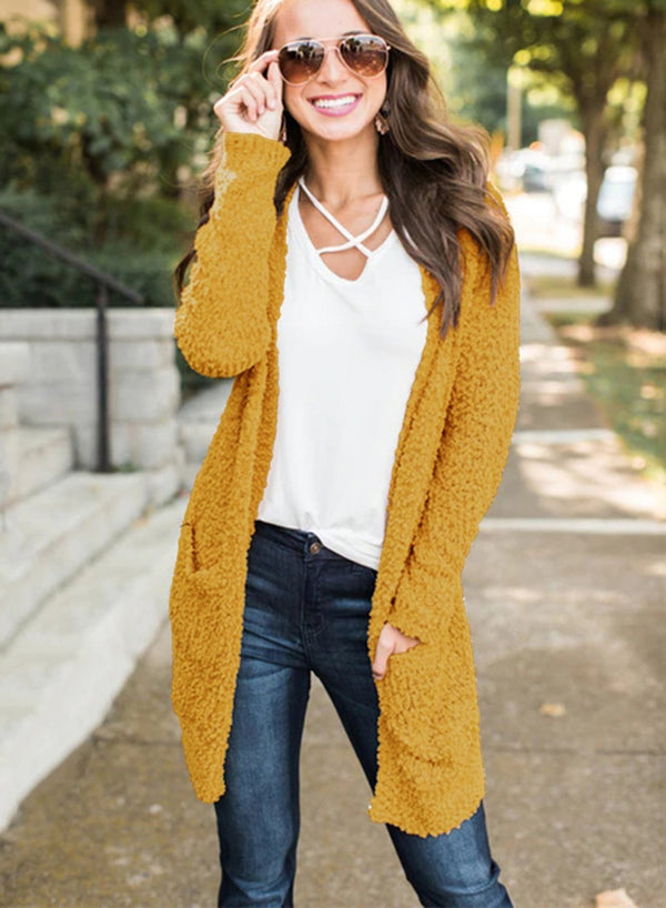 Women Solid Color Long Sleeve Pocket Day Cardigan