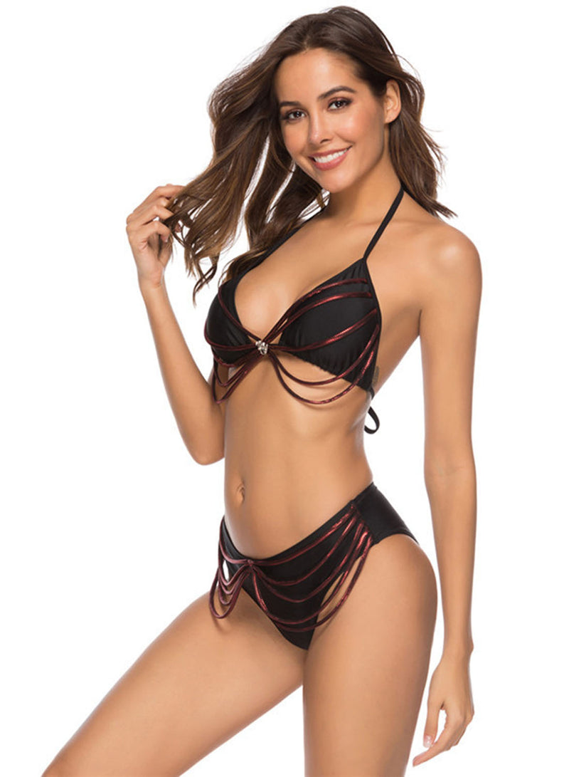 Solid Color Straps Two Piece Bikini swimsuit