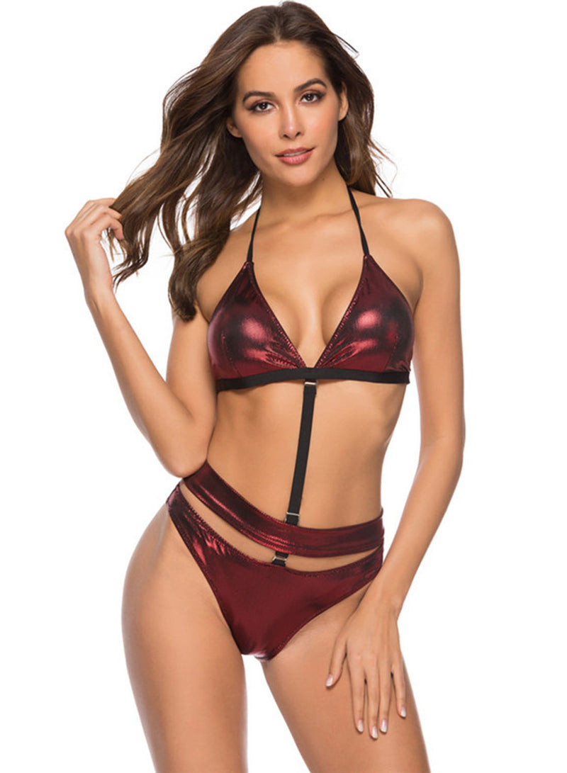 Solid Halter Push up Two Piece Bikini Swimsuit