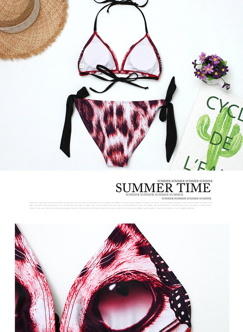 Leopard Head Big Eyes Print Personality Bikini Swimsuits