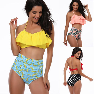 Women Ruffle Print High Waist Two Piece Bikini Set