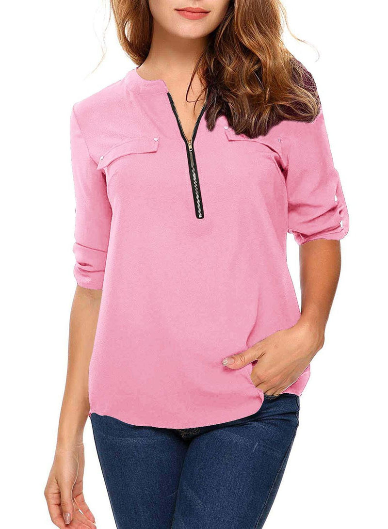 Long Sleeved Stand Collar Zip Loose Chiffon Blouse