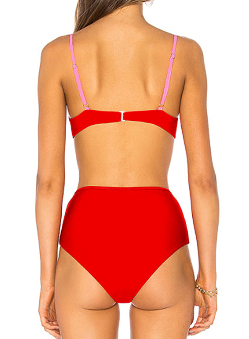 Solid Color Holes High Waist Bikini Two Piece Swimsuit