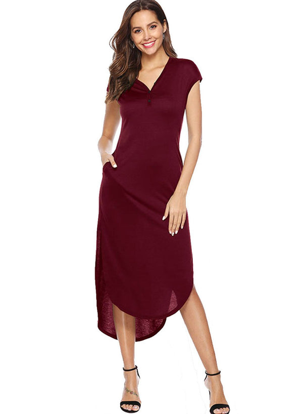 V-neck Button Pocket Irregular Stretch Dress