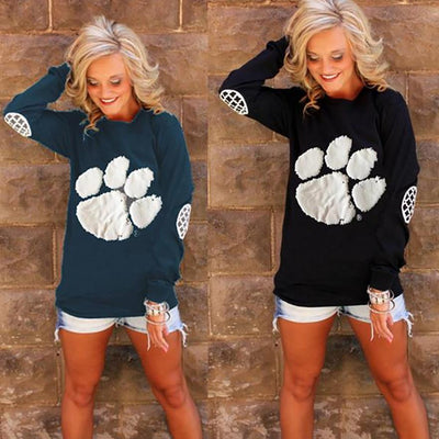 Women's Fashion Long Sleeve Bear Paw Pullover Sweatshirt