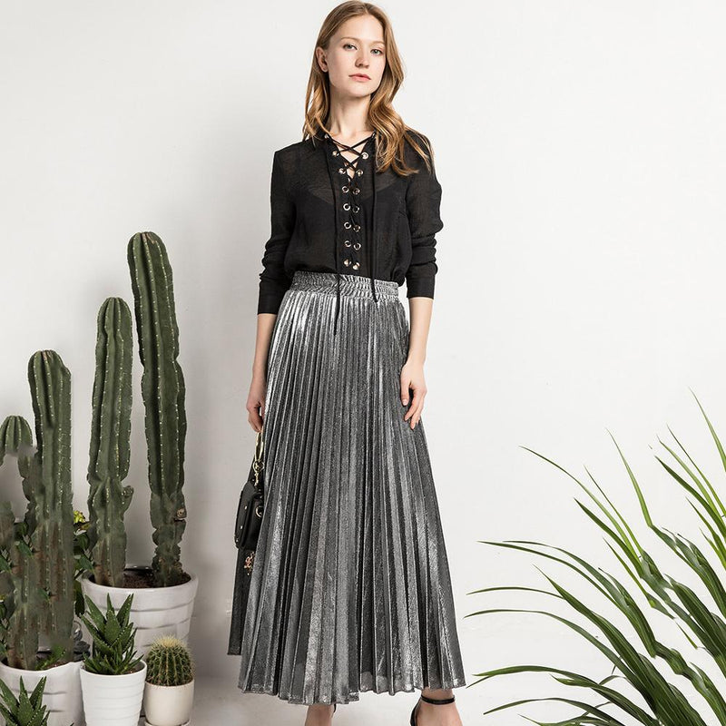 Ins Hot High-Waist Shiny Accordion Pleated Long Maxi Skirt