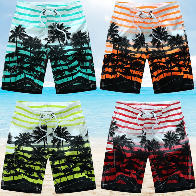 2021 Men Summer Style Beach Quick Dry Coconut Tree Printing Shorts