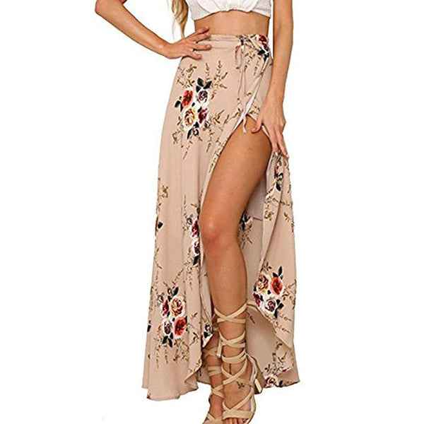 Ins Hot Boho Floral Slit Beach Wrap Maxi Skirt