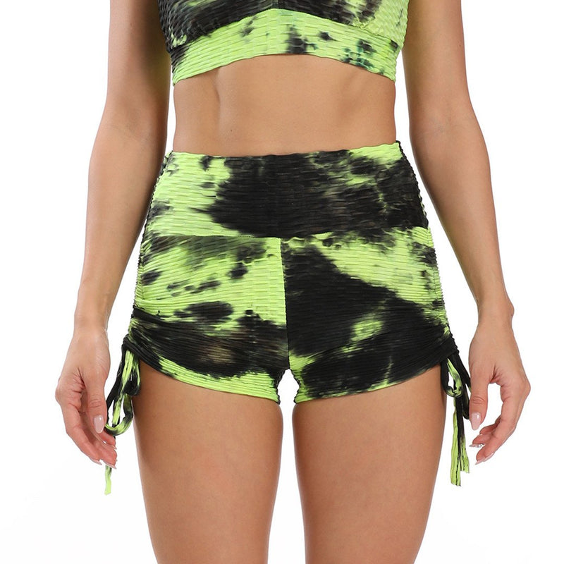 Women's Workout High Waisted Tie Dye Scrunch Booty Yoga Shorts