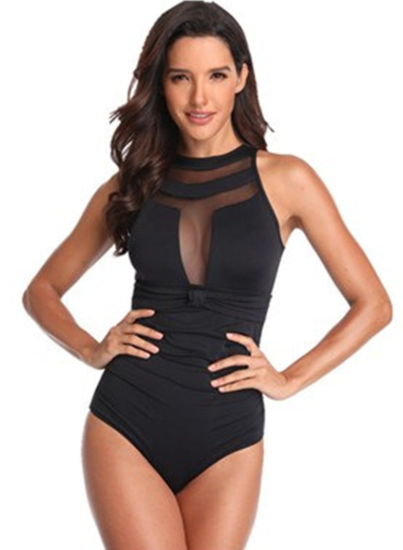 Women Mesh One Piece Bikini Conservative Swimsuits