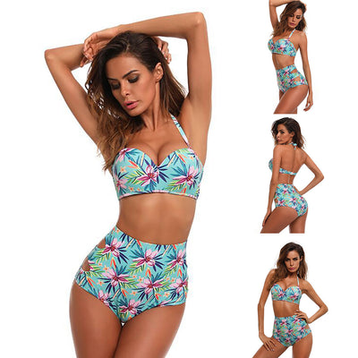 Women's Fashion Printed Swimwear High Waist Bikini Set
