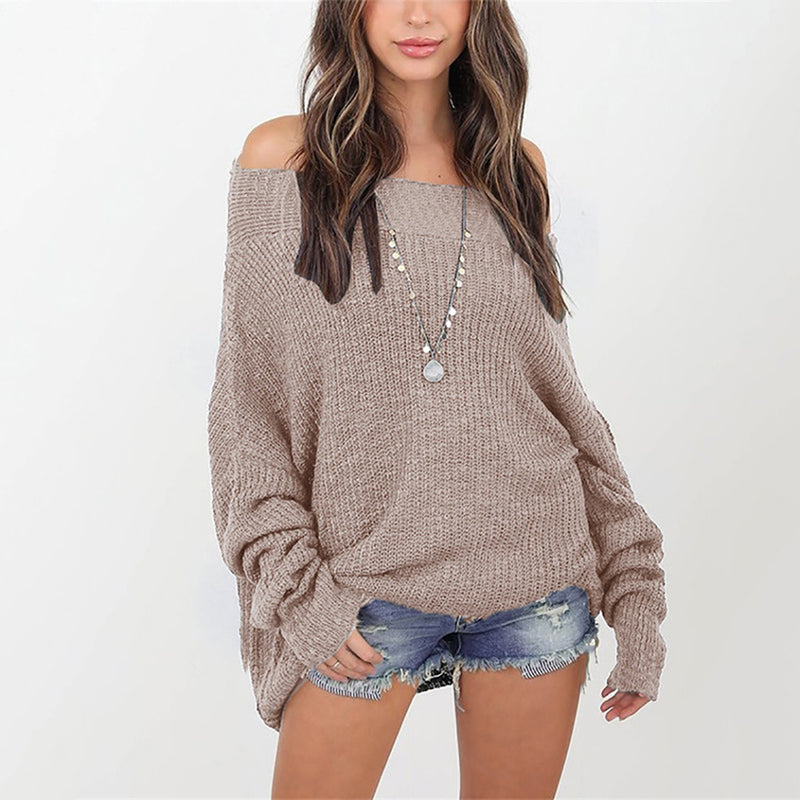 Ins Stylish Off the Shoulder Loose Knit Sweater