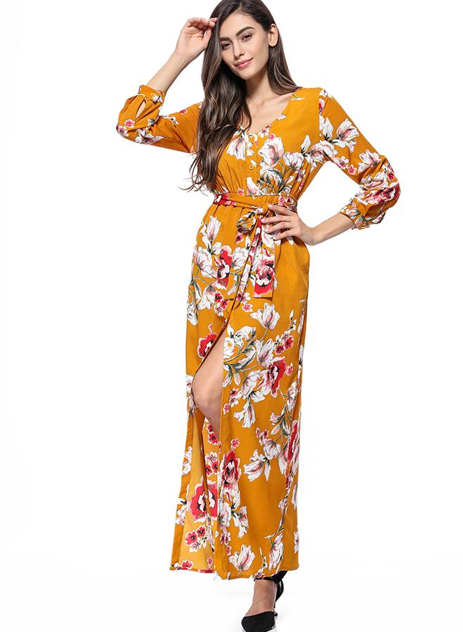 Women Bohemian Print Beach Slit Maxi Dress