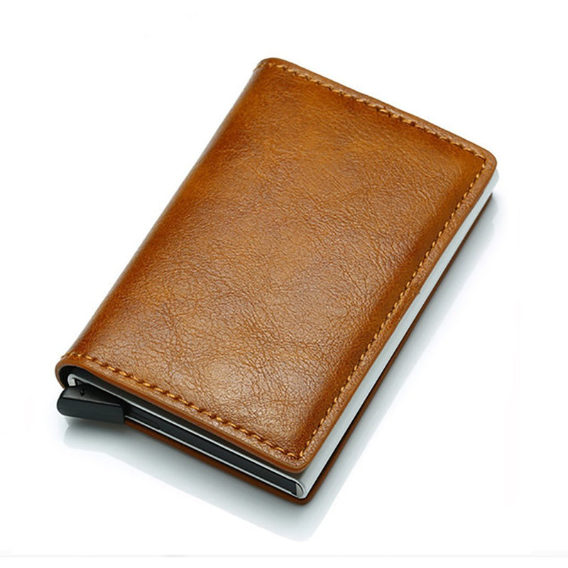 Men Anti Rfid Bank Credit Card Bag Slide Leather ID Card Holder Case Aluminium Metal Wallet