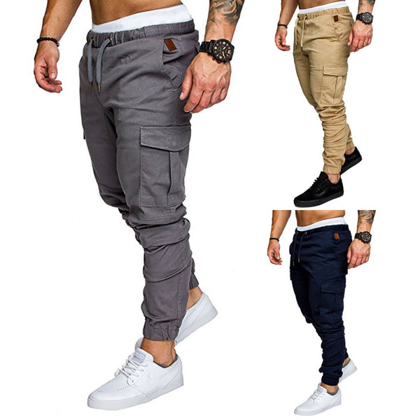 Men's Hip Hop Harem Joggers Pants Male Solid Multi-pocket Trousers