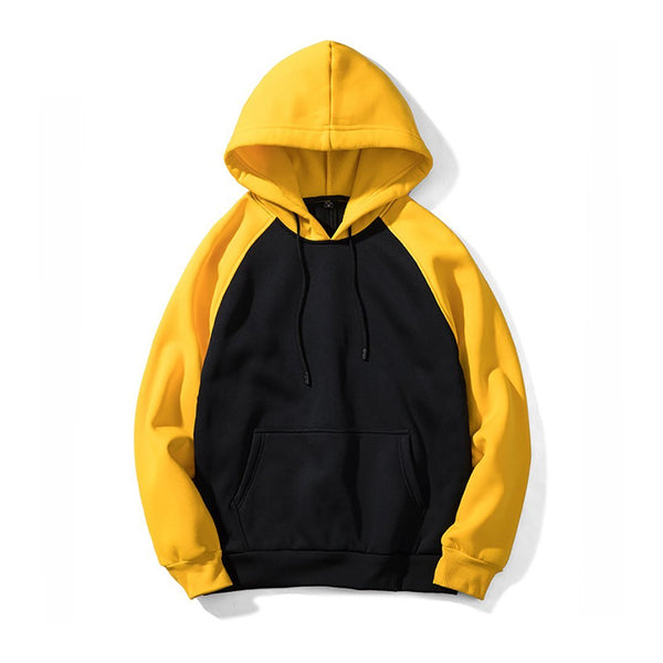 Men's Streetwear Patchwork Hip Hop Hooded Solid Slim Fit Casual Hoodies Sweatshirts