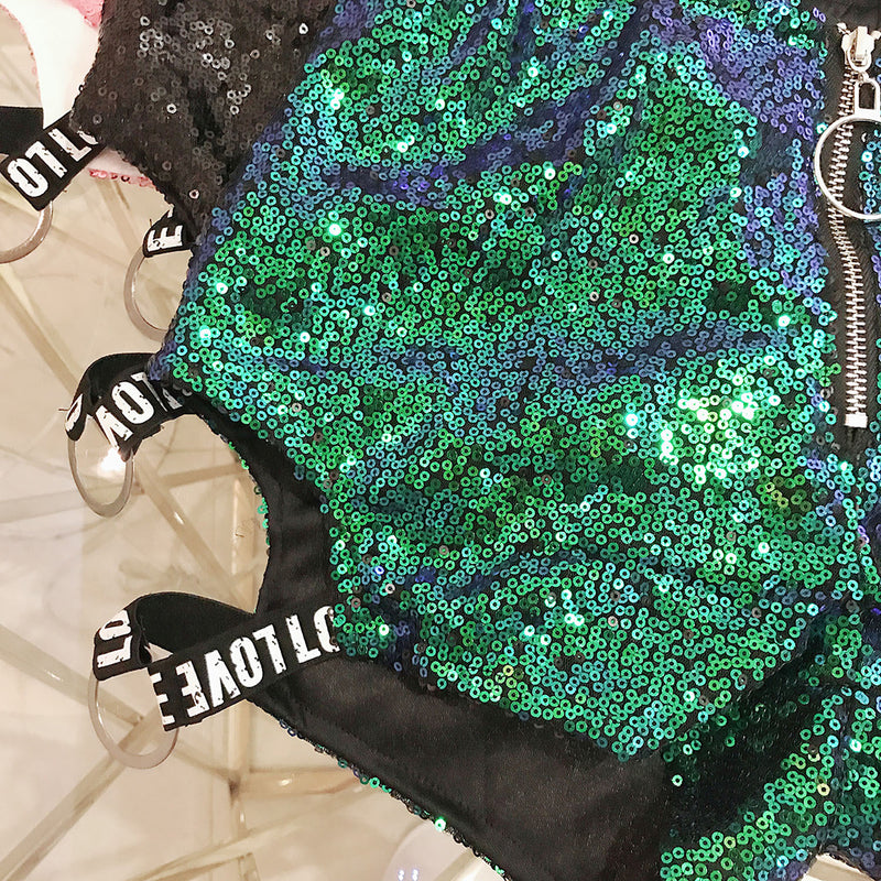 Women Hot Clubwear High Waist Sequin Shorts