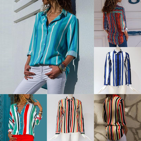Striped Color Block Printed Irregular Collared Blouse