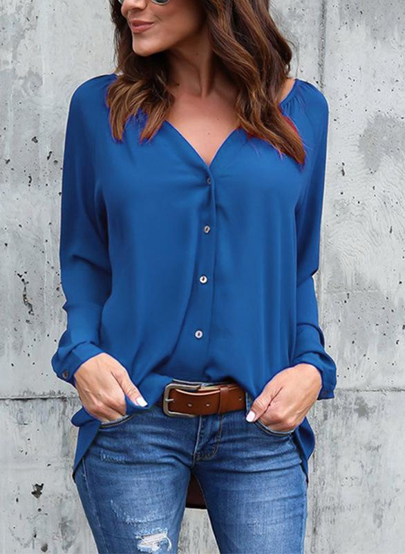 V-neck Pleated Button Loose Chiffon Blouse