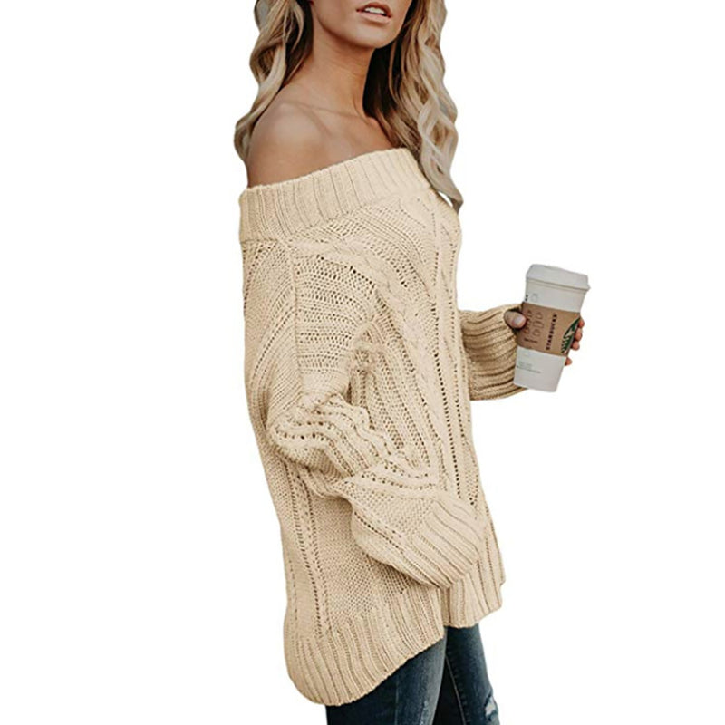 Ins Stylish Off the Shoulder Coarse Thread Knit Sweater