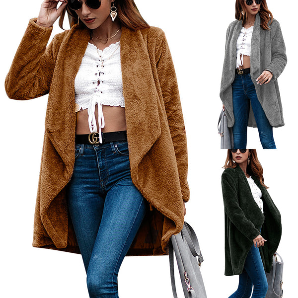 Women Solid Color Long Sleeved Velvet Cardigan Coat