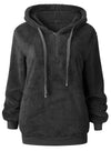 Women Contrast Color Zipper Hooded Velvet Sweatshirt