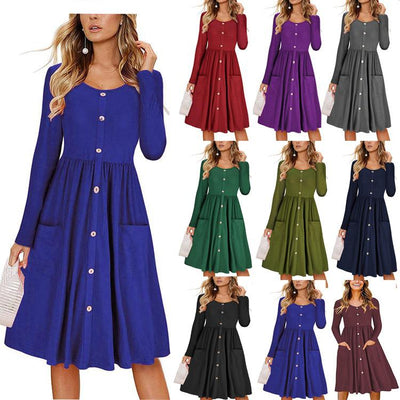Women Round Neck Pockets Button Long Sleeve Midi Dress