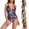 Women One Piece Swimsuit Cutout Backless Colorful Swimwear