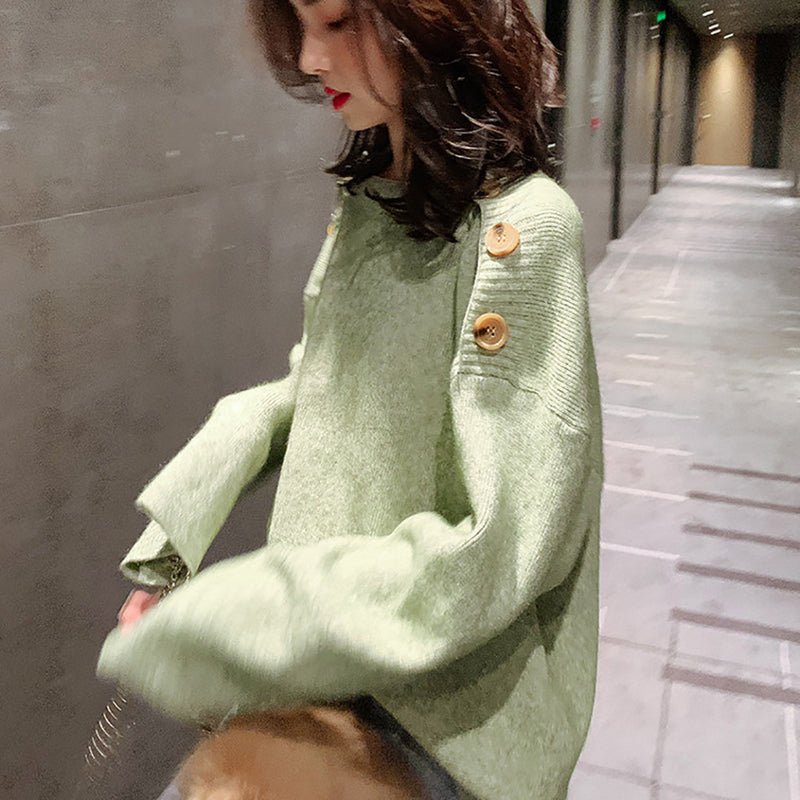 Women Buttons Off the Shoulder Leisure Knit Sweater