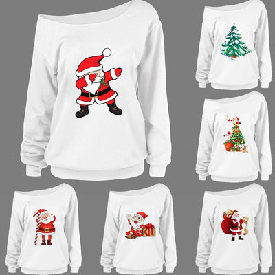 Women Fashion Christmas Santa Claus Print Long Sleeve Sweatshirt